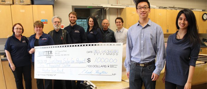Hayter Group donates $1,000 to SunStang