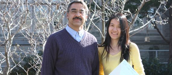 Amarjeet Bassi, Western Engineering's Associate Dean (Academic) with Jiemi Gao, recipient of the 2009 Christian Lassonde Scholarship.